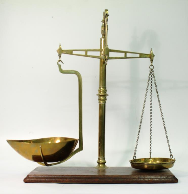 Gilbert & Co. Antique English Brass Balance Scale