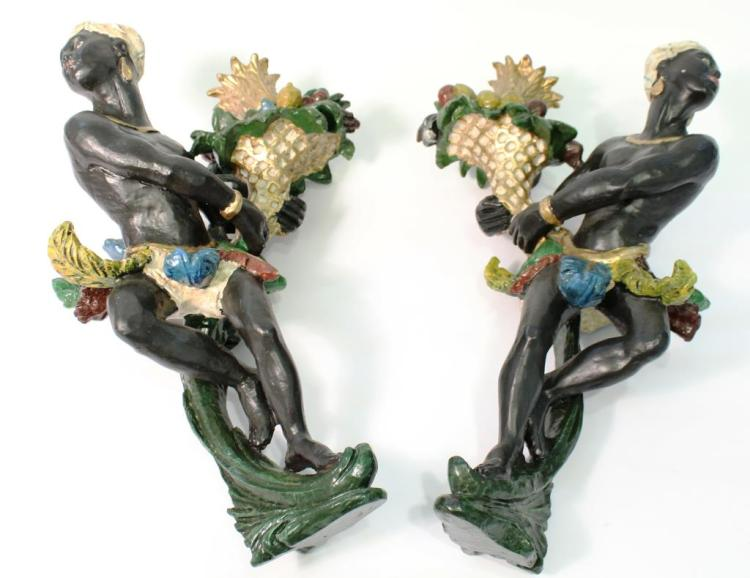 Pair of Vintage Blackamoor Candle Sconces