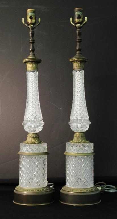 Pair of Neoclassical-Style Cut Glass Table Lamps