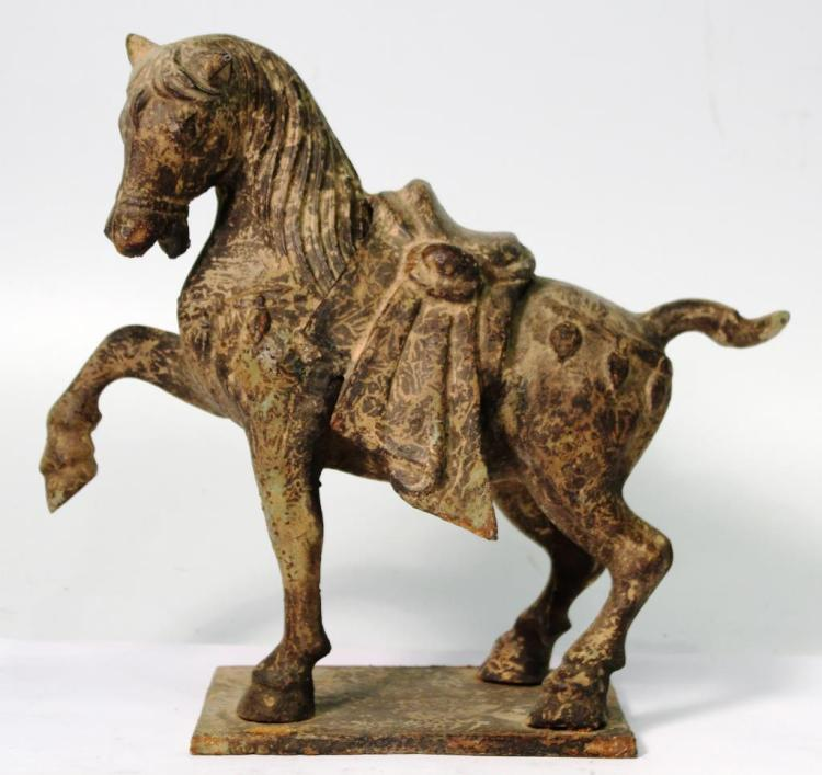 Chinese-Style Cast Iron Tang Horse