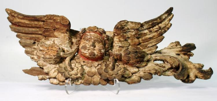 Carved Wood Head of a Winged Putto