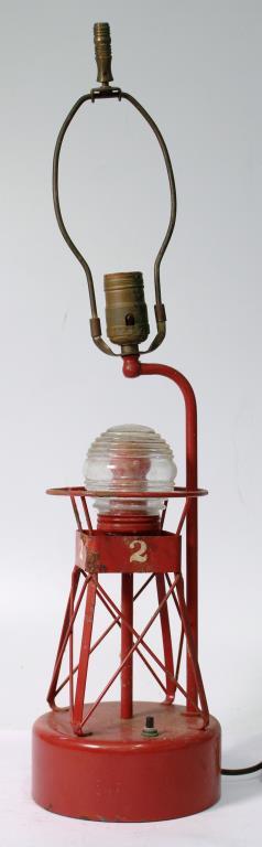 Vintage Painted Metal Buoy Light