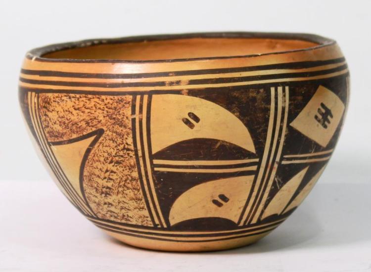Vintage Hopi Polychrome Pottery Bowl