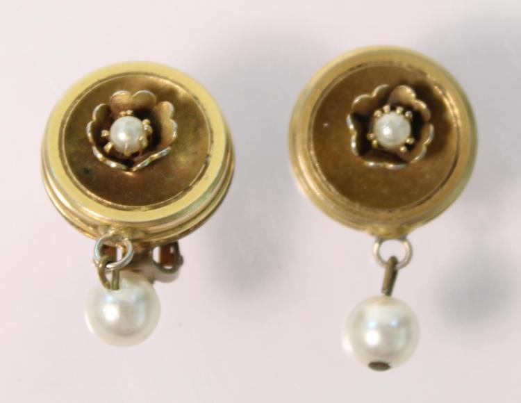 Pair of Gold-Tone & Faux Pearl Earrings