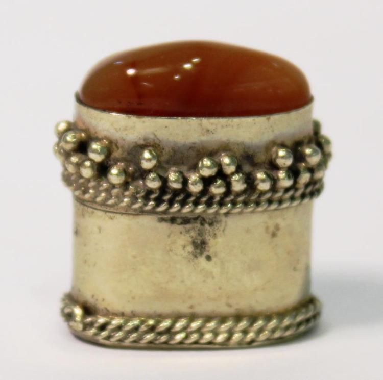 Carnelian-Studded Silver-Tone Metal Pillbox
