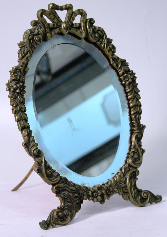 Vintage Rococo-Style Gilt Metal Standing Mirror