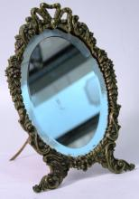 Vintage Rococo-Style Gilt Metal Standing Mirror