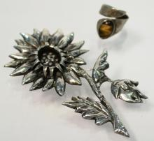 Mexican Silver Ring & Brooch