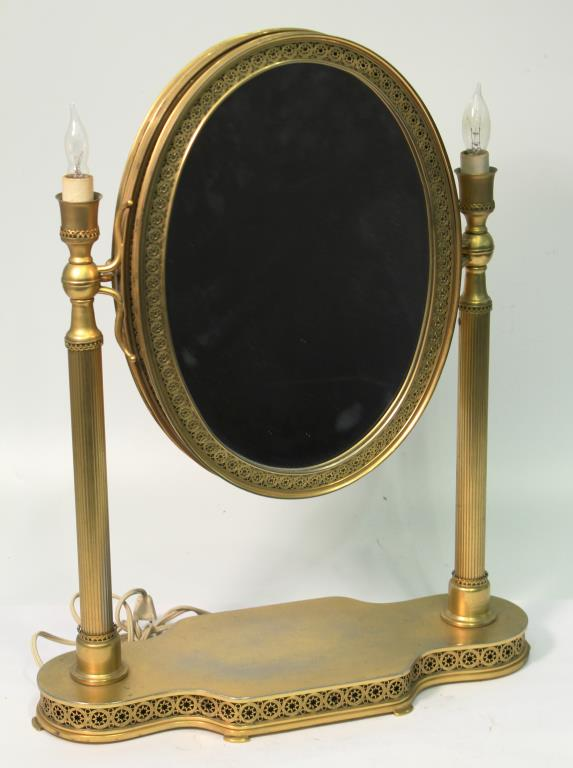 Triple Gilt Brass Folding & Lighting Vanity Mirror