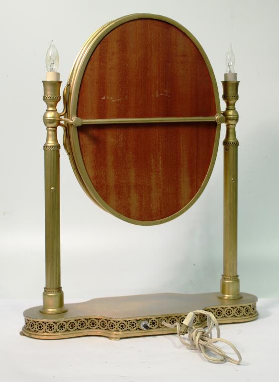 triple gilt brass folding lighting vanity mirror. Black Bedroom Furniture Sets. Home Design Ideas