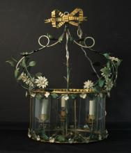 Floral Toleware Circular Pendant Chandelier