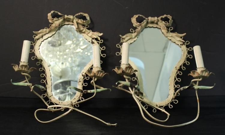 Pair of Painted Toleware Mirrored Sconces