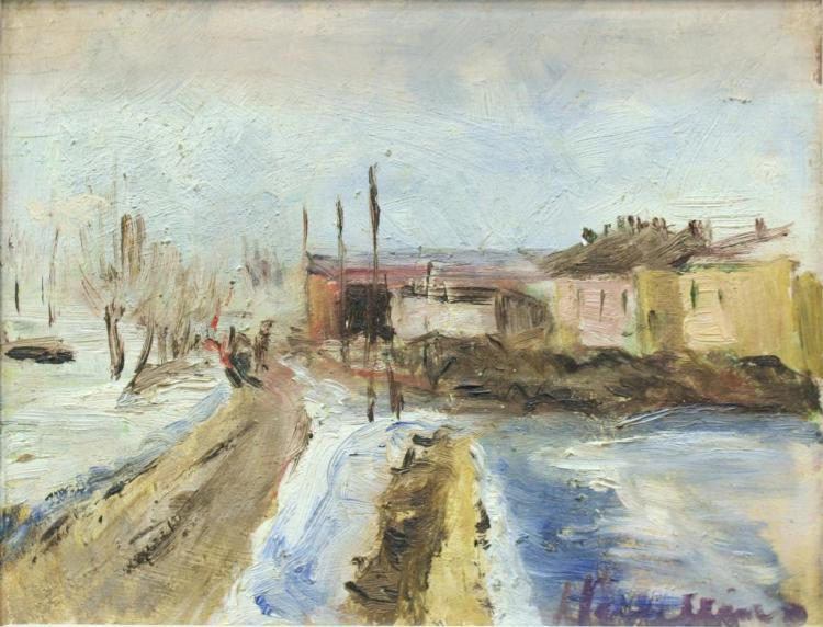 Oil on Board, Winter Landscape, 20th C.