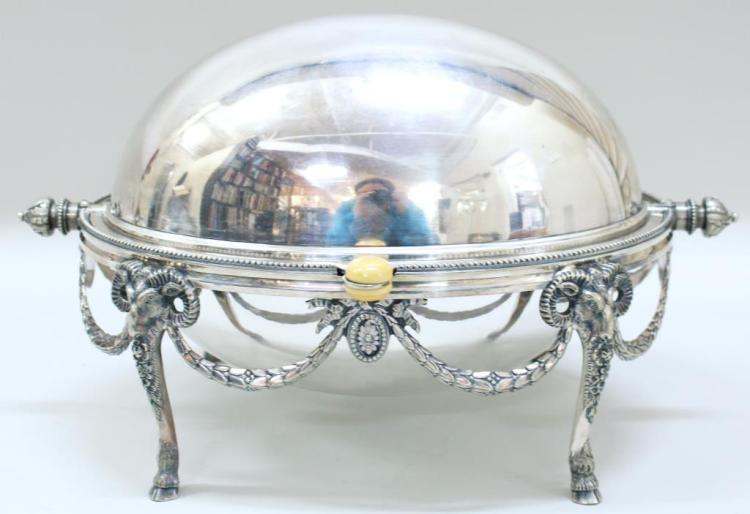 Neoclassical Sheffield Silver-Plate Biscuit Warmer