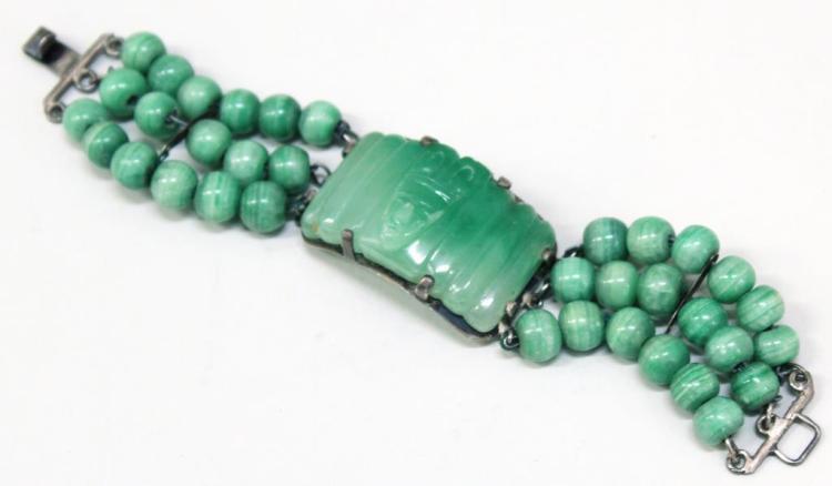 Vintage Mexican Silver & Agate Bracelet