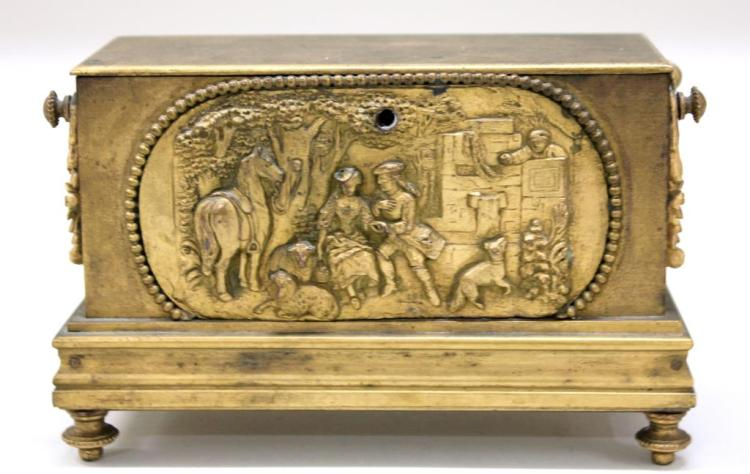 Small Gilt Bronze Jewel Casket
