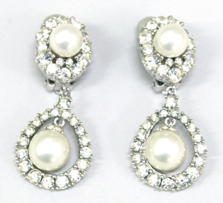Pair of Ciner Faux Pearl & Rhinestone Dangle Clips