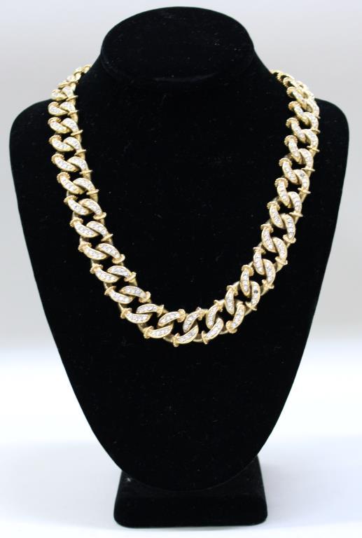 Kenneth Lane Gold Metal & Faux Rhinestone Necklace