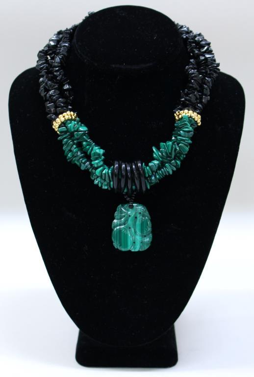 Malachite & Black Jadeite Torsade Choker