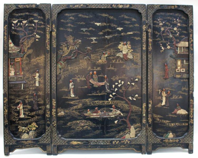 Chinese Hardstone-Inlaid Black Lacquer Screen