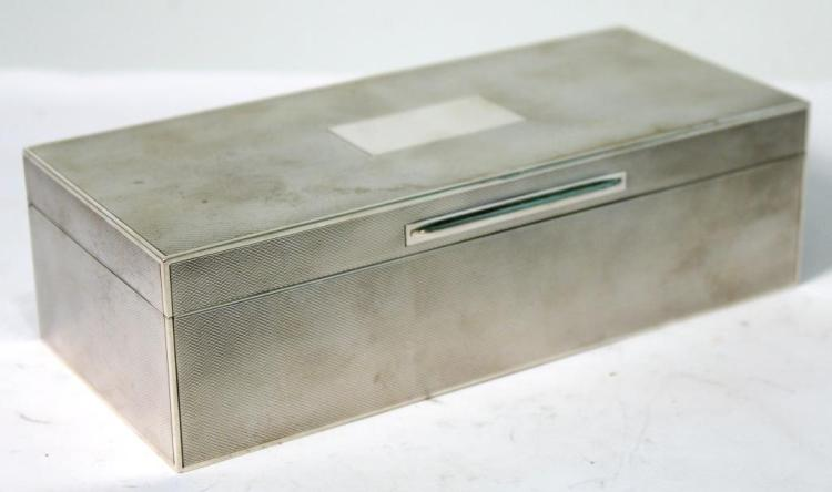 English Silver Dual Compartment Cigarette Box