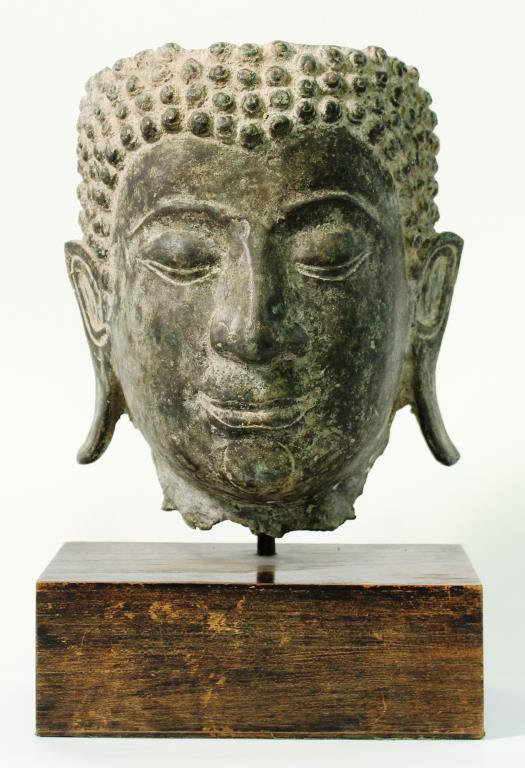 Southeast Asian Cast Metal Buddha Face