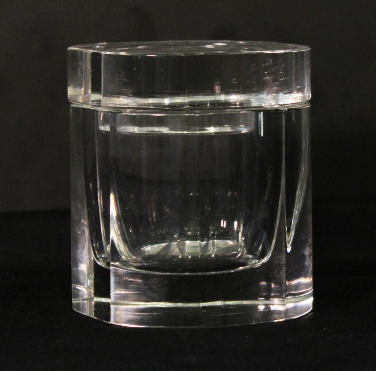 Octagonal Cut Glass Container