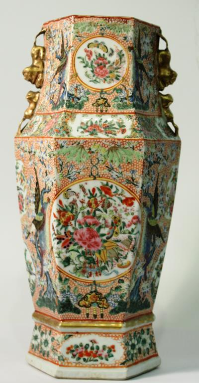 Chinese Hexagonal Famille Rose Vase
