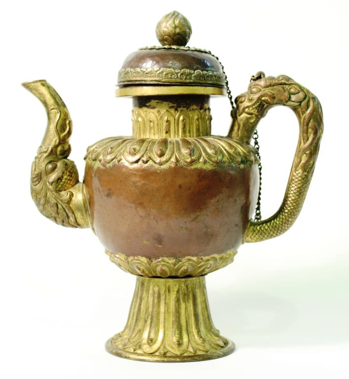 Tibetan Silver & Gilded Copper Teapot 18th/19th C.