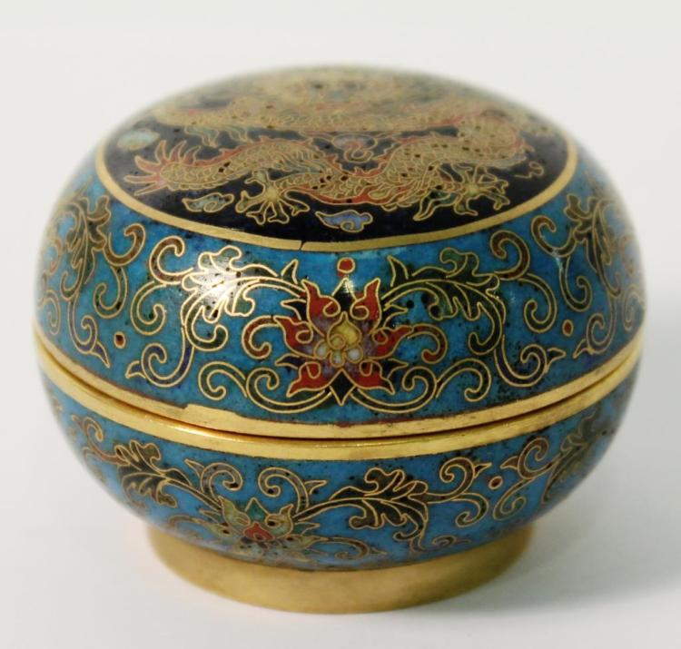 Tiny Chinese Cloisonné Imperial Dragon Lidded Box