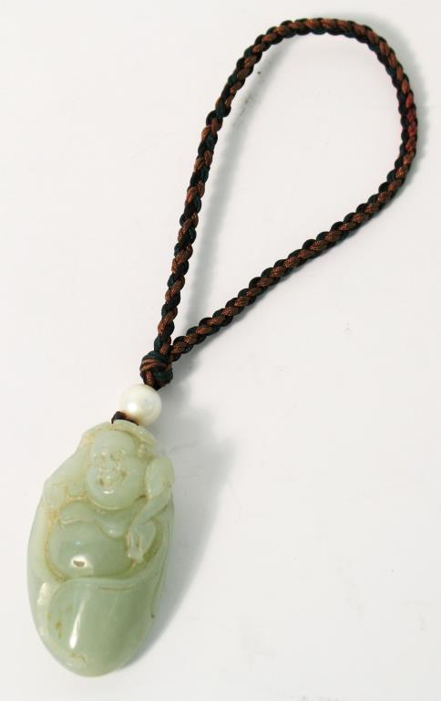 Chinese Celadon Jade Hotai Buddha Pendant