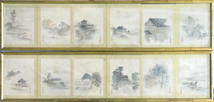 Japanese School- 12 Ink on Silk Paintings