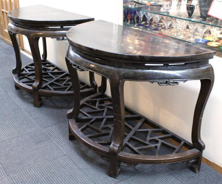 Pair of Large Chinese Half Round Kang Tables