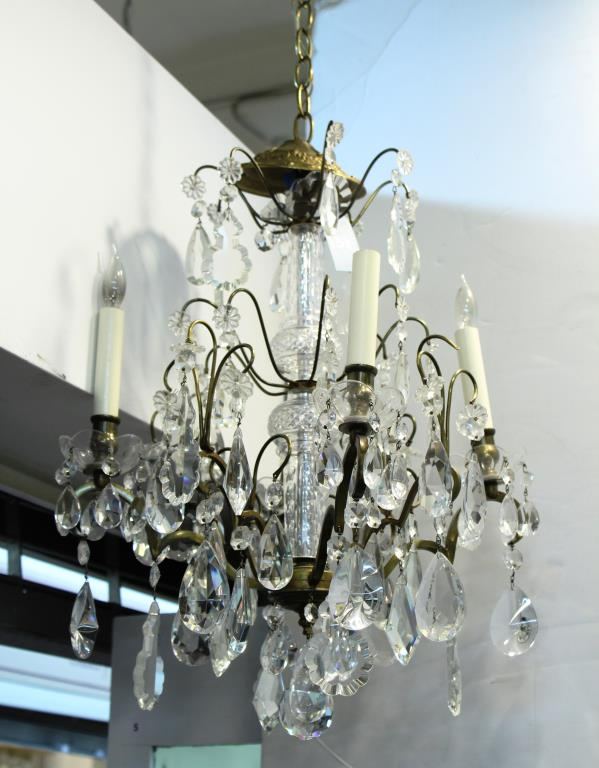 Cut Glass & Gilt Bronze 4-Arm Chandelier