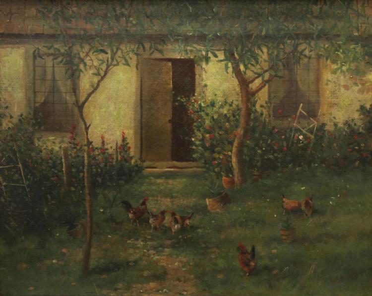 Oil on Canvas, Backyard Garden