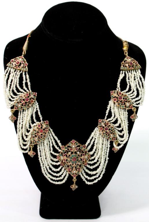 Mughal Indian 10K Gold & Gems