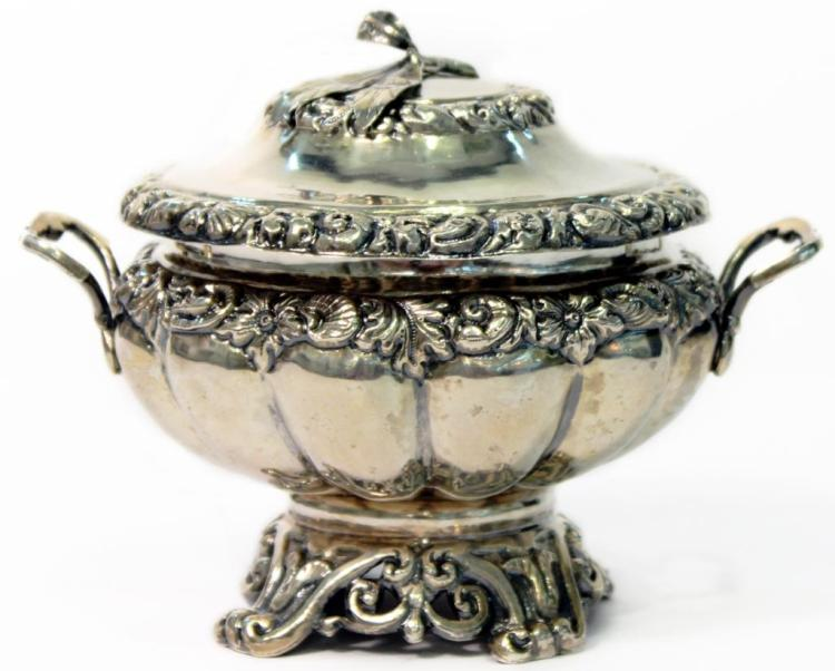 Antique Italian Ornate Silver Sugar Bowl