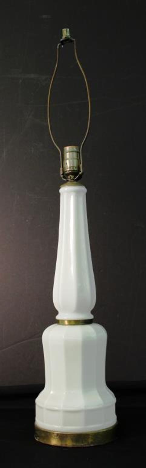Milk Glass Faceted Column Table Lamp