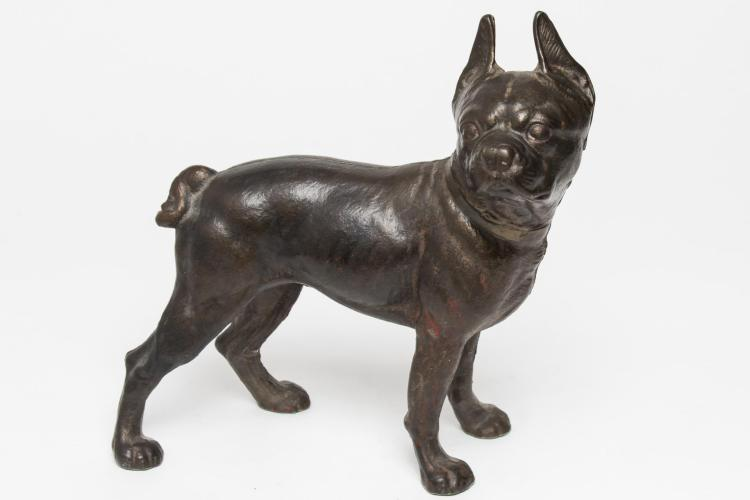 Cast Iron Doorstop Boston Terrier Dog Unpainted