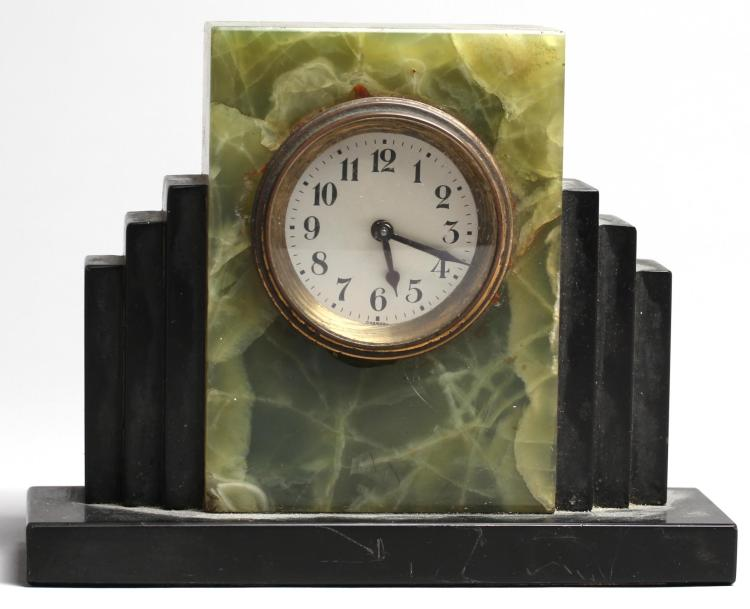 German art deco black green marble alarm clock Art deco alarm clocks