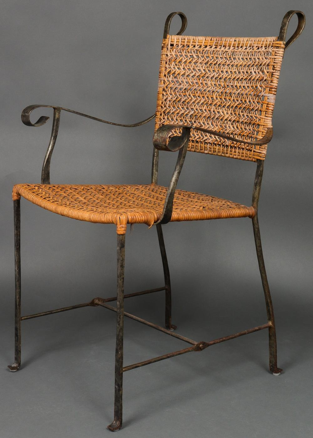 Sold Price Giacometti Manner Wrought Iron Wicker Chairs 5 Invalid Date Edt