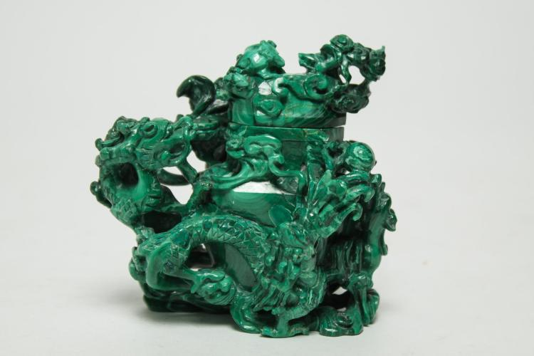 Asian chinese carved malachite dragon vessel