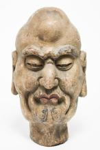 Japanese Polychrome Wood Bust, with Glass Eyes