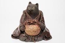 Japanese Ceramic Mujina Tanuki Figure, Antique