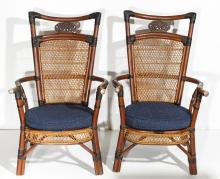 Chinese Arm Chairs, Pair in Bamboo & Wicker
