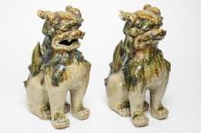 Japanese Foo Dogs, Glazed Ceramic, Vintage