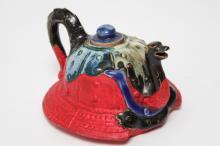 Japanese Sumida-Ware Pottery Kabuto Helmet Tea Pot