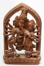 Indian Hindu Wood Wall Hanging, Ganesha & Lakshmi