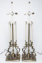 Stiffel Table Lamps in Gilt Brass & Metal, Pair