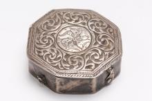 Islamic Silver Box, Octagonal w Chasing & Repousse